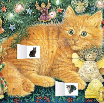 Ivory Cats Hark the Herald Angels Sing advent calendar (with stickers)